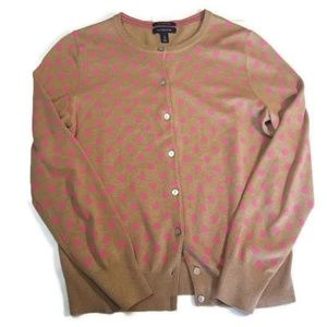 Sweaters - Lands End Tan and Pink Polka Dot Cardigan